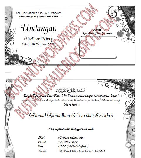 template undangan Walimatul Ursy, tahlil dan Aqiqah dengan format ...